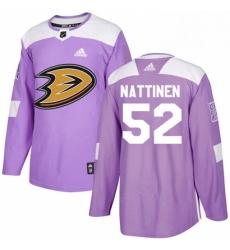 Mens Adidas Anaheim Ducks 52 Julius Nattinen Authentic Purple Fights Cancer Practice NHL Jersey