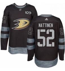 Mens Adidas Anaheim Ducks 52 Julius Nattinen Premier Black 1917 2017 100th Anniversary NHL Jersey