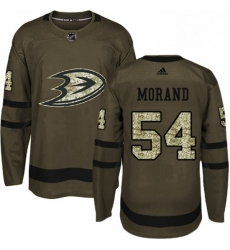 Mens Adidas Anaheim Ducks 54 Antoine Morand Authentic Green Salute to Service NHL Jersey