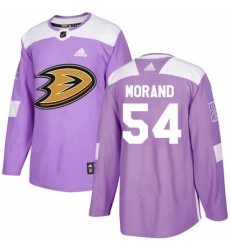 Mens Adidas Anaheim Ducks 54 Antoine Morand Authentic Purple Fights Cancer Practice NHL Jersey