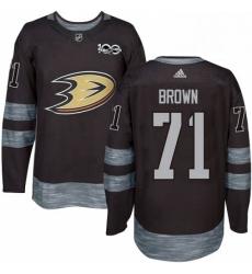 Mens Adidas Anaheim Ducks 71 JT Brown Authentic Black 1917 2017 100th Anniversary NHL Jersey
