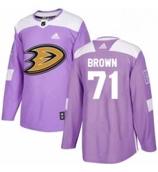 Mens Adidas Anaheim Ducks 71 JT Brown Authentic Purple Fights Cancer Practice NHL Jersey