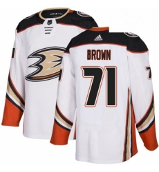 Mens Adidas Anaheim Ducks 71 JT Brown Authentic White Away NHL Jersey