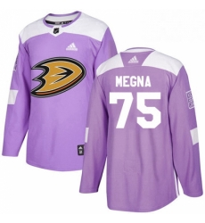 Mens Adidas Anaheim Ducks 75 Jaycob Megna Authentic Purple Fights Cancer Practice NHL Jersey