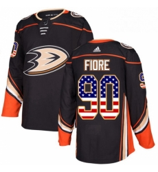 Mens Adidas Anaheim Ducks 90 Giovanni Fiore Authentic Black USA Flag Fashion NHL Jersey