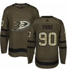 Mens Adidas Anaheim Ducks 90 Giovanni Fiore Authentic Green Salute to Service NHL Jersey