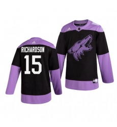 Coyotes 15 Brad Richardson Black Purple Hockey Fights Cancer Adidas Jersey