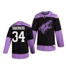 Coyotes 34 Carl Soderberg Black Purple Hockey Fights Cancer Adidas Jersey