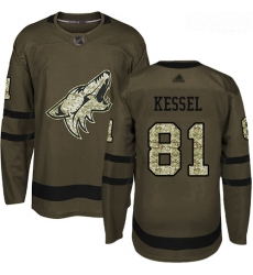 Coyotes #81 Phil Kessel Green Salute to Service Stitched Hockey Jersey