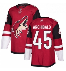 Mens Adidas Arizona Coyotes 45 Josh Archibald Authentic Burgundy Red Home NHL Jersey