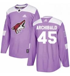 Mens Adidas Arizona Coyotes 45 Josh Archibald Authentic Purple Fights Cancer Practice NHL Jerse