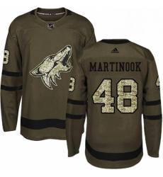 Mens Adidas Arizona Coyotes 48 Jordan Martinook Authentic Green Salute to Service NHL Jersey