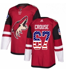 Mens Adidas Arizona Coyotes 67 Lawson Crouse Authentic Red USA Flag Fashion NHL Jersey