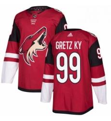 Mens Adidas Arizona Coyotes 99 Wayne Gretzky Authentic Burgundy Red Home NHL Jersey