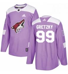 Mens Adidas Arizona Coyotes 99 Wayne Gretzky Authentic Purple Fights Cancer Practice NHL Jersey
