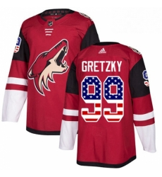 Mens Adidas Arizona Coyotes 99 Wayne Gretzky Authentic Red USA Flag Fashion NHL Jersey