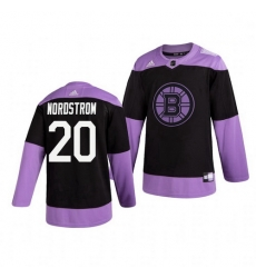 Bruins 20 Joakim Nordstrom Black Purple Hockey Fights Cancer Adidas Jersey