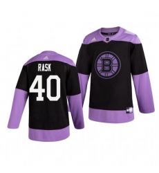 Bruins 40 Tuukka Rask Black Purple Hockey Fights Cancer Adidas Jersey