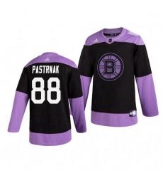 Bruins 88 David Pastrnak Black Purple Hockey Fights Cancer Adidas Jersey