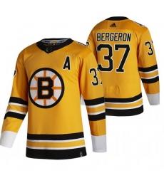 Men Boston Bruins 37 Patrice Bergeron Yellow Adidas 2020 21 Reverse Retro Alternate NHL Jersey