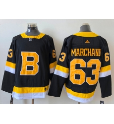 Men Boston Bruins 63 Brad Marchand Black Adidas 2020 21 Reverse Retro Alternate NHL Jersey
