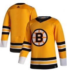 Men Boston Bruins Blank Yellow 2020 21 Reverse Retro Adidas Jersey