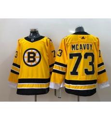 Men Boston Bruins Charlie McAvoy 73 Yellow 2021 Adidas Stitched NHL Jersey
