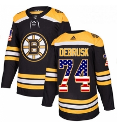 Mens Adidas Boston Bruins 74 Jake DeBrusk Authentic Black USA Flag Fashion NHL Jersey