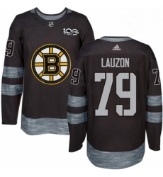 Mens Adidas Boston Bruins 79 Jeremy Lauzon Authentic Black 1917 2017 100th Anniversary NHL Jersey