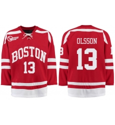 Boston University Terriers BU 13 Nikolas Olsson Red Stitched Hockey Jersey