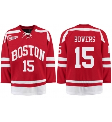 Boston University Terriers BU 15 Shane Bowers Red Stitched Hockey Jersey