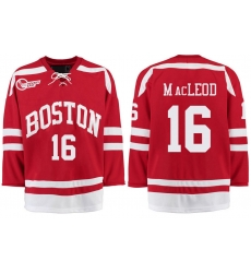 Boston University Terriers BU 16 John MacLeod Red Stitched Hockey Jersey