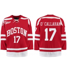 Boston University Terriers BU 17 Jack OCallahan Red Stitched Hockey Jersey
