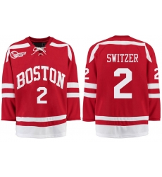Boston University Terriers BU 2 Shane Switzer Red Stitched Hockey Jersey