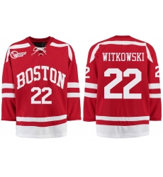 Boston University Terriers BU 22 Jake Witkowski Red Stitched Hockey Jersey