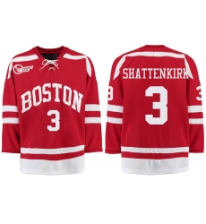 Boston University Terriers BU 3 Kevin Shattenkirk Red Stitched Hockey Jersey