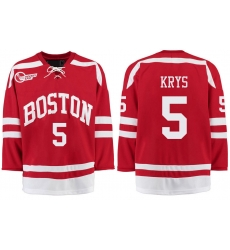 Boston University Terriers BU 5 Chad Krys Red Stitched Hockey Jersey