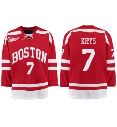 Boston University Terriers BU 7 Chad Krys Red Stitched Hockey Jersey