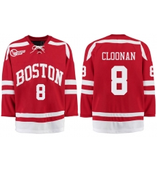 Boston University Terriers BU 8 Ryan Cloonan Red Stitched Hockey Jersey