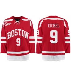 Boston University Terriers BU 9 Jack Eichel Red Stitched Hockey Jersey