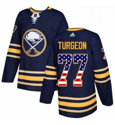 Mens Adidas Buffalo Sabres 77 Pierre Turgeon Authentic Navy Blue USA Flag Fashion NHL Jersey