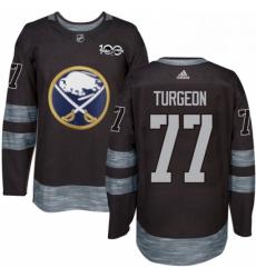 Mens Adidas Buffalo Sabres 77 Pierre Turgeon Premier Black 1917 2017 100th Anniversary NHL Jersey