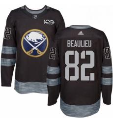 Mens Adidas Buffalo Sabres 82 Nathan Beaulieu Authentic Black 1917 2017 100th Anniversary NHL Jersey