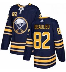 Mens Adidas Buffalo Sabres 82 Nathan Beaulieu Authentic Navy Blue Home NHL Jersey