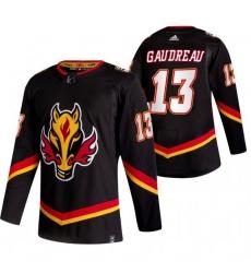 Men Calgary Flames 13 Johnny Gaudreau Black Adidas 2020 21 Reverse Retro Alternate NHL Jersey