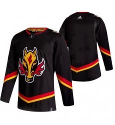 Men Calgary Flames Blank Black Adidas 2020 21 Reverse Retro Alternate NHL Jersey