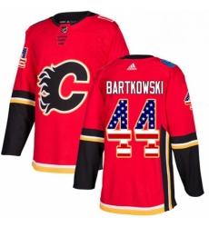 Mens Adidas Calgary Flames 44 Matt Bartkowski Authentic Red USA Flag Fashion NHL Jersey