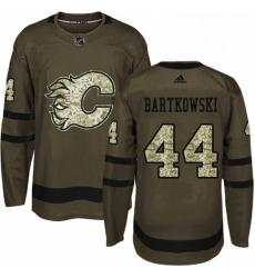 Mens Adidas Calgary Flames 44 Matt Bartkowski Premier Green Salute to Service NHL Jersey