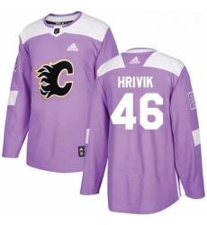 Mens Adidas Calgary Flames 46 Marek Hrivik Authentic Purple Fights Cancer Practice NHL Jersey