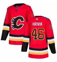 Mens Adidas Calgary Flames 46 Marek Hrivik Authentic Red Drift Fashion NHL Jersey